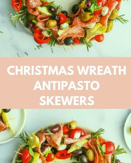 Christmas Wreath Antipasto Skewers