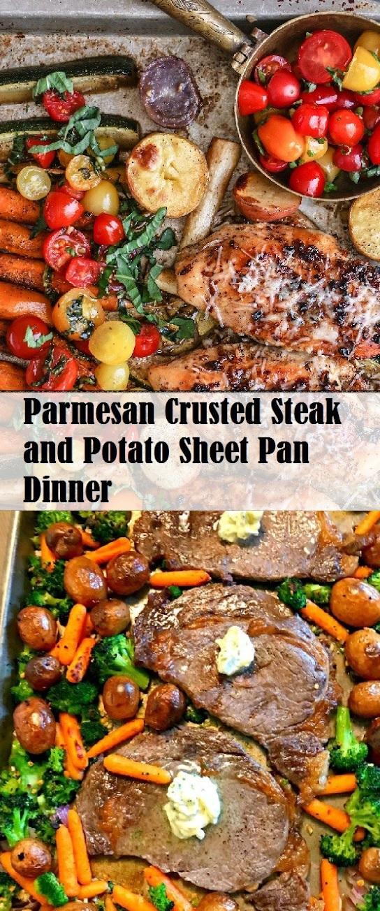 Parmesan Crusted Steak and Potato Sheet Pan Dinner