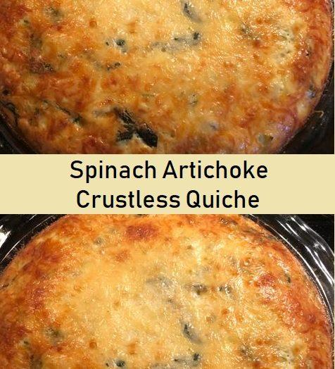 Spinach Artichoke Crustless Quiche