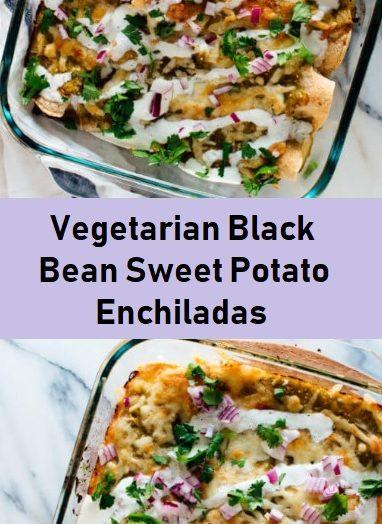 Vegetarian Black Bean Sweet Potato Enchiladas